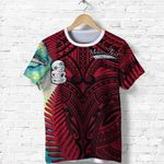 (Custom Personalised) Simple T Shirt Maori Hei Tiki and Paua - Red |1st New Zealand