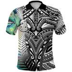 (Custom Personalised) Simple Polo Shirt Maori Hei Tiki and Paua - Black |1st New Zealand