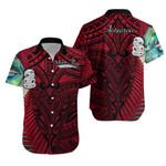 (Custom Personalised) Simple Hawaiian Shirt Maori Hei Tiki and Paua - Red |1st New Zealand