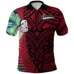 Simple Polo Shirt Maori Hei Tiki and Paua - Red |1st New Zealand