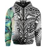 (Custom Personalised) Simple Zip Hoodie Maori Hei Tiki and Paua - Black |1st New Zealand