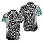 (Custom Personalised) Simple Hawaiian Shirt Maori Hei Tiki and Paua - Black |1st New Zealand
