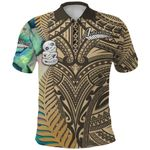Simple Polo Shirt Maori Hei Tiki and Paua - Golden |1st New Zealand