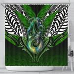 Manaia Mythology Shower Curtain Silver Fern Maori Tattoo