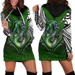 Manaia Mythology Women Hoodie Dress Silver Fern Maori Tattoo