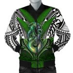 Manaia Mythology Men Bomber Jacket Silver Fern Maori Tattoo