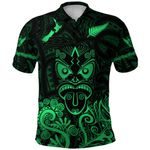 Maori Aotearoa Rugby Haka Polo Shirt New Zealand Silver Fern - Green K8
