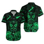 Maori Aotearoa Rugby Haka Hawaiian Shirt New Zealand Silver Fern - Green K8
