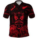Maori Aotearoa Rugby Haka Polo Shirt New Zealand Silver Fern - Red K8
