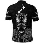 Maori Aotearoa Rugby Haka Polo Shirt New Zealand Silver Fern - Black K8