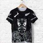 Maori Aotearoa Rugby Haka T Shirt New Zealand Silver Fern - Black K8