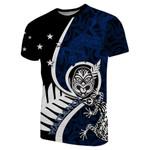 New Zealand Waitangi Day T-Shirt Ethnic Lizard Blue
