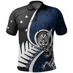 New Zealand Waitangi Day Polo Shirt Ethnic Lizard Blue