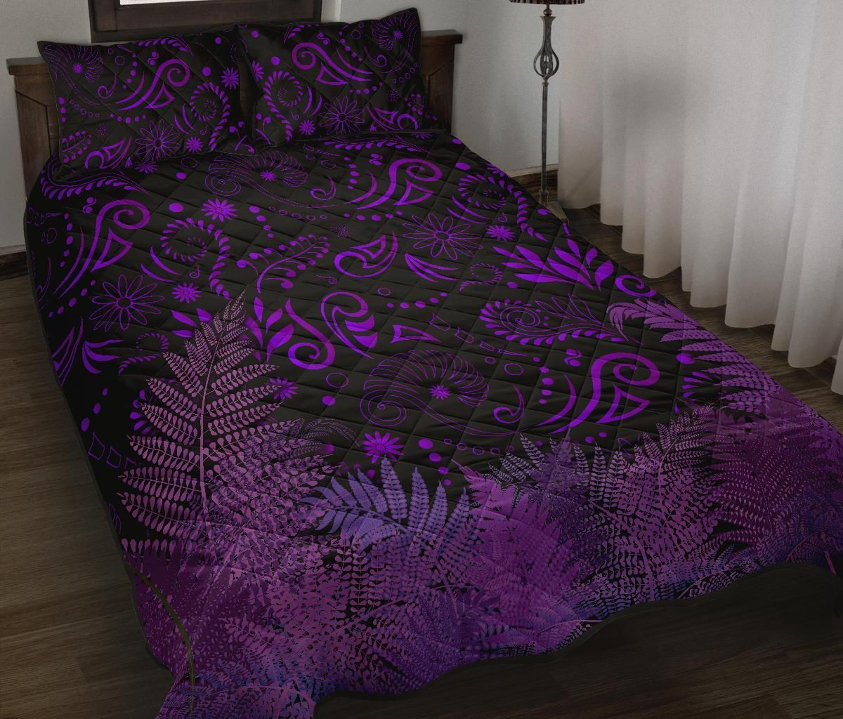 New Zealand Quilt Bed Set Silver Fern Aotearoa Vibes - Purple