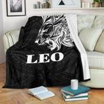 Sun In Leo Zodiac Premium Blanket Polynesian Tattoo Simple - White