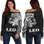 Sun In Leo Zodiac Women Off Shoulder Sweater Polynesian Tattoo Simple - White