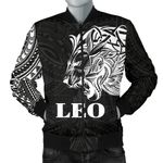 Sun In Leo Zodiac Men Bomber Jacket Polynesian Tattoo Simple - White