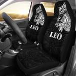 Sun In Leo Zodiac Car Seat Covers Polynesian Tattoo Simple - White