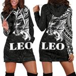 Sun In Leo Zodiac Women Hoodie Dress Polynesian Tattoo Simple - White