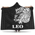 Sun In Leo Zodiac Hooded Blanket Polynesian Tattoo Simple - White