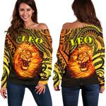 Sun In Leo Zodiac Women Off Shoulder Sweater Polynesian Tattoo Unique Vibes