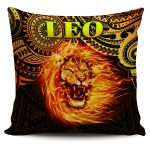 Sun In Leo Zodiac Pillow Cover Polynesian Tattoo Unique Vibes