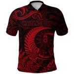 New Zealand Waitangi Day Polo Shirt Silver Fern Maori Vibes - Red K8