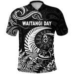 New Zealand Waitangi Day Polo Shirt Silver Fern Maori Vibes - White K8