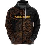 New Zealand Waitangi Day Zip Hoodie Silver Fern Maori Vibes - Black K8