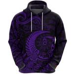 New Zealand Waitangi Day Hoodie Silver Fern Maori Vibes - Purple K8