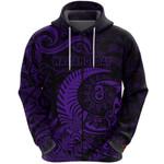 New Zealand Waitangi Day Zip Hoodie Silver Fern Maori Vibes - Purple K8