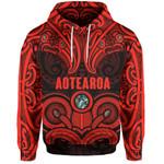 Aotearoa Hoodie - Red Maori Tiki Paua Shell TH5