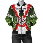 Anzac Day Women's Bomber Jacket, New Zealand Lest We Forget   Love New Zealand