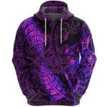 Aotearoa Maori Hoodie Silver Fern Koru Vibes Purple K36