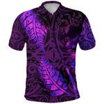 Aotearoa Maori Polo Shirt Silver Fern Koru Vibes Purple K36