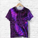 Aotearoa Maori T Shirt Silver Fern Koru Vibes Purple K36