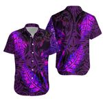 Aotearoa Maori Hawaiian Shirt Silver Fern Koru Vibes Purple K36