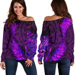 Aotearoa Maori Women Off Shoulder Sweater Silver Fern Koru Vibes Purple