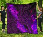 Aotearoa Maori Premium Quilt Silver Fern Koru Vibes Purple