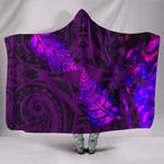 Aotearoa Maori Hooded Blanket Silver Fern Koru Vibes Purple