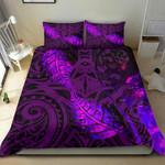 Aotearoa Maori Bedding Set Silver Fern Koru Vibes Purple
