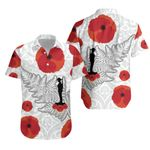 Anzac Maori Hawaiian Shirt Silver Fern Lest For Get K36