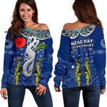 Anzac Day Women's Off Shoulder Sweater, New Zealand And Australia | lovenewzealand.co