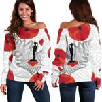 Anzac Maori Women Off Shoulder Sweater Silver Fern Lest For Get