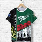 Anzac Day - Lest We Forget T Shirt Australia Indigenous and New Zealand Maori   1st New Zealand