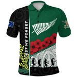 Anzac Day - Lest We Forget Polo Shirt Australia Indigenous and New Zealand Maori | 1st New Zealand