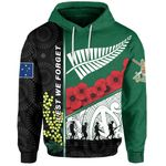 Anzac Day - Lest We Forget Hoodie Australia Indigenous and New Zealand Maori | 1st New Zealand