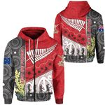 (Custom Personalised) Anzac Day - Lest We Forget Zip Hoodie Australia Indigenous and New Zealand Maori - Red | 1st New Zealand