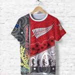 Anzac Day - Lest We Forget T Shirt Australia Indigenous and New Zealand Maori - Red   1st New Zealand