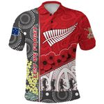 Anzac Day - Lest We Forget Polo Shirt Australia Indigenous and New Zealand Maori - Red | 1st New Zealand
